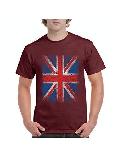 British Flag Union Jack Distressed Men's Short Sleeve T-Shirt (5XLMAR) Maroon ()