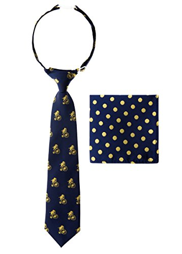 Canacana Elephants Ride Bicycle Woven Microfiber Pre-tied Boy's Tie with Polka Dots Pocket Square Gift Box Set - Navy Blue with Yellow - 6 - 18 months, Christmas gift