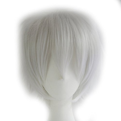 Probeauty Unisex Basic Short Hair Wig/Wigs Cosplay Party+Wig Cap (Silver White) by Aicos