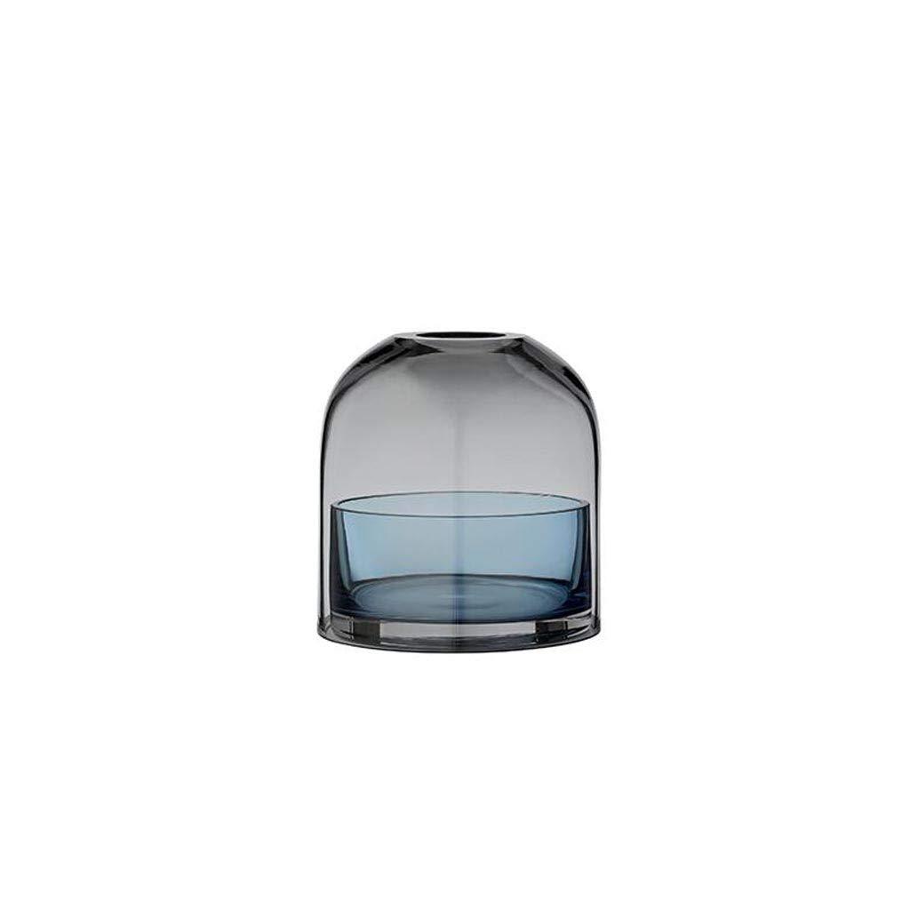 北欧の光贅沢な風ガラス花瓶家の装飾の装飾品パープルブルーグリーンブラウン SHWSM (色 : 青) B07S2G1LH2 青