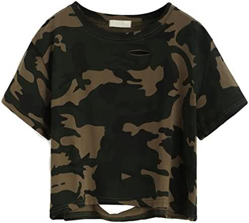 SweatyRocks Tshirt Camo Print Distressed Crop T-shirt