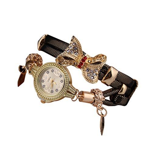 Bravetoshop Women Watches,Butterfly Retro Rhinestone Bracelet Watch Lovely Wedding Quartz Wristwatch(Brown)