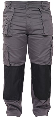 Qaswa Mens Work Safety Cargo Pant Knee Pad Pocket Heavy Duty Combat Outdoor Work wear Trouser Grey