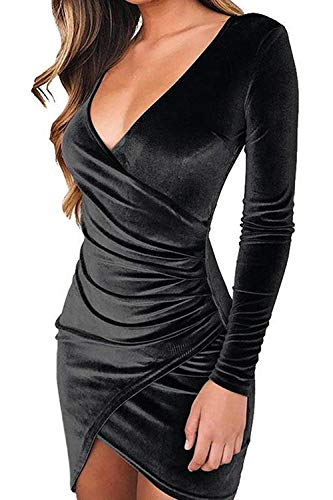 Joeoy Women's Black Sexy Long Sleeve V Neck Faux Wrap Velvet Bodycon Ruched Mini Dress-M