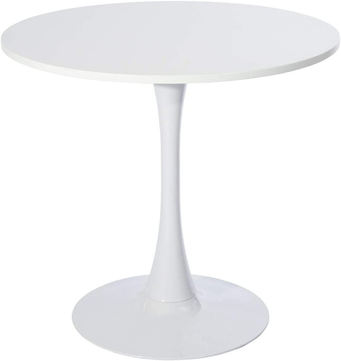 Easy Assembly GreenForest Round Dining Table Black Mid-Century Modern Tulip Pedestal Leisure Table with Srong Metal Base
