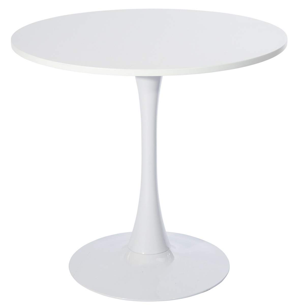 GreenForest Round Tulip Dining Table Pedestal Table, Small Kitchen Table Modern Wooden White Coffee Table with Strong Metal Base, 31.5-Inch