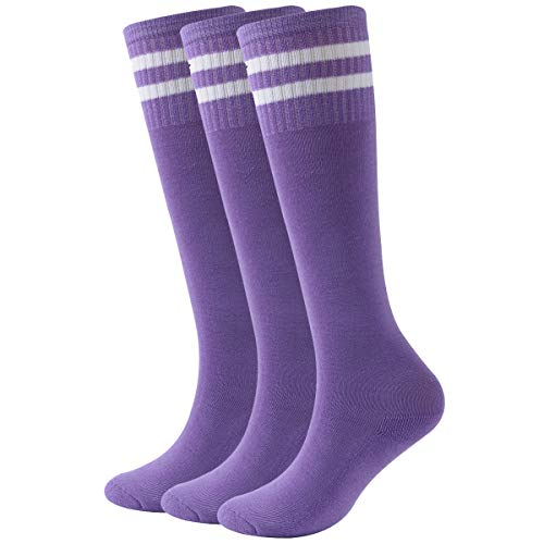 - Fasoar Knee High Soccer Socks,Youth Children Cotton Cushion Sweat Absorbing Outdoor Sports Socks 3 Pairs Purple
