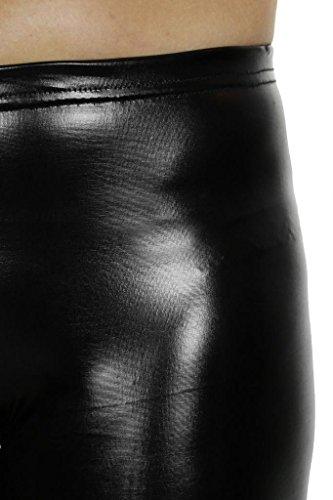 (1460-1) Leggings flaco Fit Negro metal Efecto Mojado (tamaño 34-42)