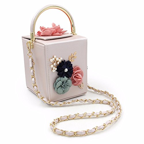 Wallet Evening TuTu With Wedding Handbag Detachable Pearl Bags Beige Strap Purses Square Leather Flower Clutch Women Bags AOwqxAz8