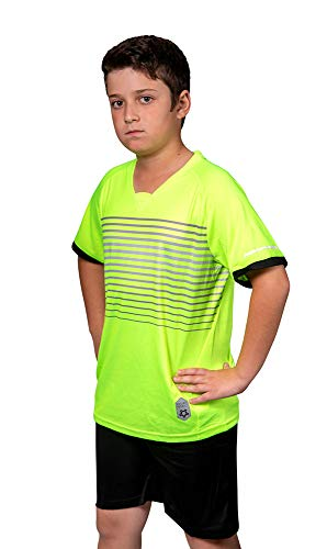 (Premium Soccer Uniforms for Kids, Sizes 4-12, Boys/Girls Sports Activewear Color Shirts - Black Shorts (Green, Small))