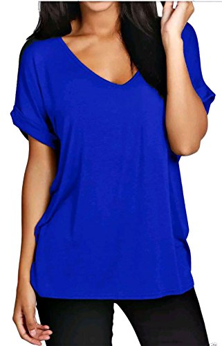 A Oversize T Womens Islander Blue Tunica Up Scollo Sleeves 3xl S V shirt E Top Ampia Donna Turn Fashions Royal PxqqX5wOp