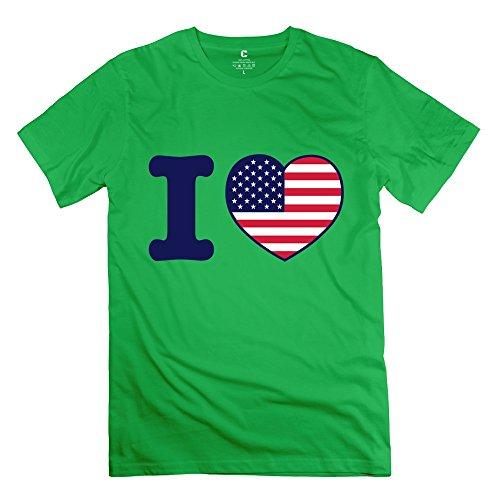 EnHui Create My Own Guys I Heart USA America O Neck T-shirts X-Small ForestGreen