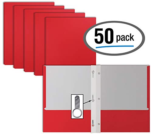 - Red Paper 2 Pocket Folders with Prongs, 50 Pack, by Better Office Products, Matte Texture, Letter Size Paper Folders, 50 Pack, with 3 Metal Prong Fastener Clips, RED