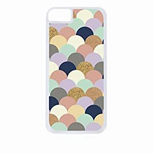 Pastel Scallops and Glitter Pattern- Case for the Apple Iphone 5-5s Universal-Hard White Plastic Outer Shell with Inner Soft Black Rubber Lining