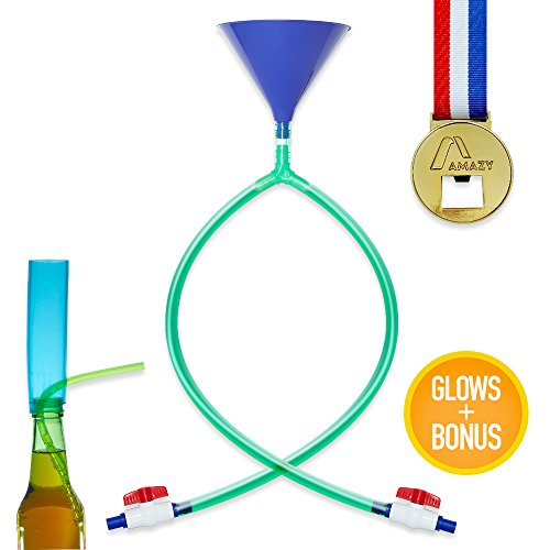 GLOW IN THE DARK Party Beer Funnel Double Header| Spring break in style- feat XL Beer Funnel and No Kink Tubes, Adjustable Valve |BONUS FREE MEDAL BEER OPENER and GLASS BEER BOTTLE BONG (Blue)