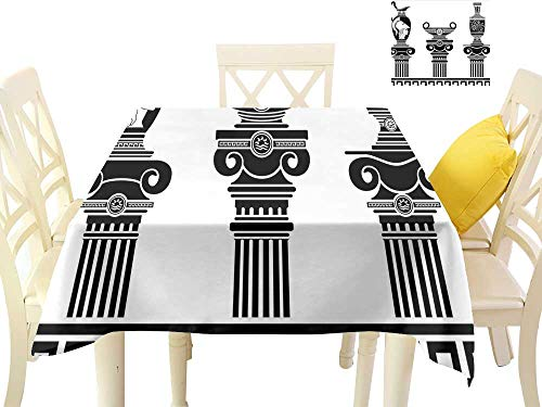 (cobeDecor Easy Care Tablecloth Set of Hellenic Vases and Ionic Columns Artistic Design Amphora Antiquity W70 x L70, Indoor Outdoor Camping Picnic)