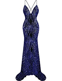 Angel-fashions Women's Spaghetti Strap Sequin V Neck Mermaid Long Ball Gown