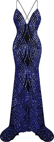 Satin Sequin Dress - Angel-fashions Women's Spaghetti Strap Sequin V Neck Mermaid Long Sweep Train Ball Gown (L, Navy)