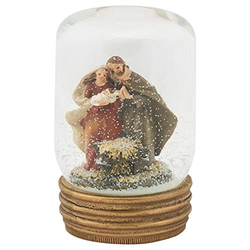 Napco Imports Holy Family Nativity Mason Jar 4 Inch Glass Christmas Snow Water -