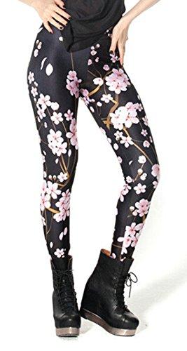 QZUnique Women's Plum Blossom Print Black Shaping Sexy Elastic Leggings,Plum Blossom,One Size (Plum Sexy)