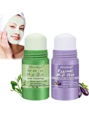Green Tea Cleansing Mask, Green Tea Face Mask, Green Mask Stick, for Improve Facial Dullness, Brighten Skin Tone, Deep Remove Blackhead, Riched in Green Tea& Eggplant Extract