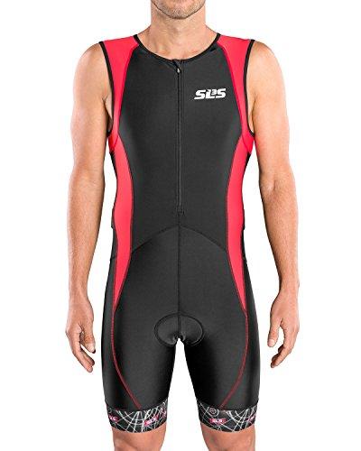 (SLS3 Men`s Triathlon Tri Suit FX | 2 Pockets | Trisuit | Soft Custom Chamois | German Designed 2018 (Black/Red Constellation, XL))