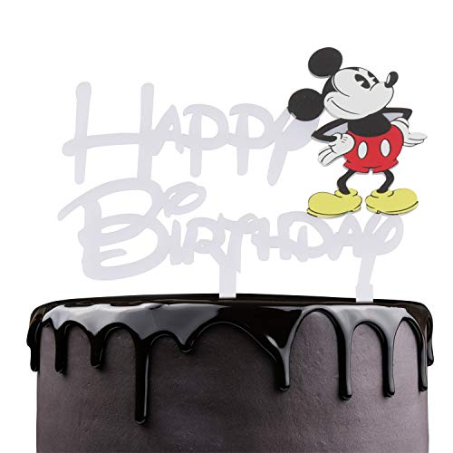 Mickey Mouse Happy Birthaday Cake Topper - Celebrate Baby Shower Kids Birthday Party Décor - Adorable Disney Theme Mirrored White Acrylic Decoration