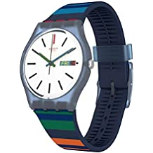 Swatch Color Crossing GN724 Blue Silicone Swiss Quartz Fashion Watch
