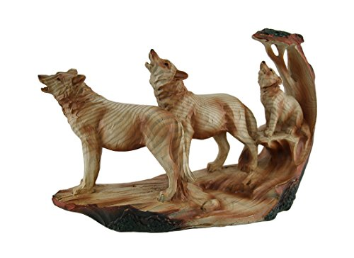 Zeckos Polyresin Statues Howling Wolf Family Carved Wood Look Resin Statue 9.5 X 6 X 3 Inches ()