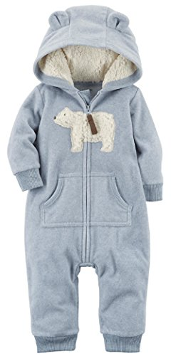 Carter's Baby Boys' One Piece Polar Bear Fleece Jumpsuit 12 Months,12 Months,Blue Bear