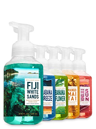Bath and Body Works Tropical Island Luau Soap: Fiji White Sands + Honolulu Sun + Cabana Breeze + Mango Mai Tai + Banana Flower - Set of 5 Gentle Foaming Island Hand Soaps