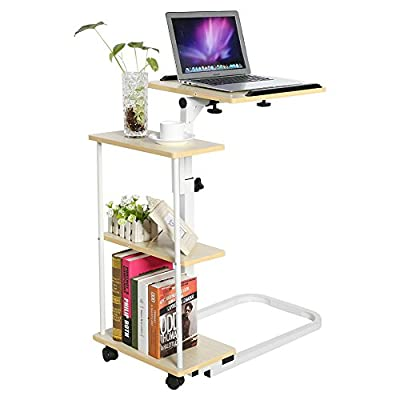 Overbed Table, Multi-function Height Adjustable Overbed Table Sofa Side Table Mobile Laptop Cart Computer Desk with Wheels