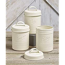 Vintage Set of 3 White Metal Kitchen Canisters. Made from Steel. Tea, Sugar, Coffee