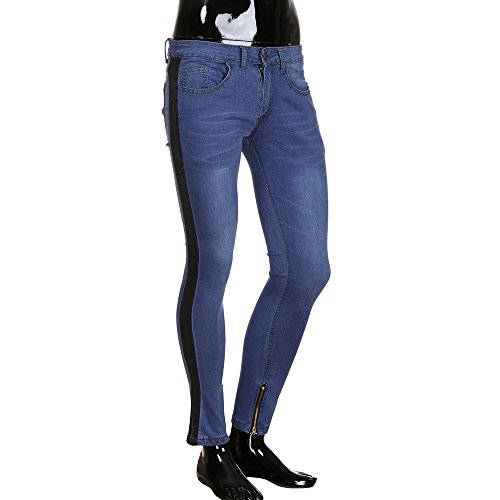 Hommes Deelin Jeans Déchiré Style Trousers Stretch Blanc Nouveau Pant Frayed Slim Fit Zipper Denim Distressed Striped qffCwTrFd