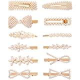Women Pearl Barrettes Hair Clips - 12 Pcs Set Pearls Hair Accessories, Fashion Big and Small Snap Hair Pin, Cute Styling Gifts for Girls