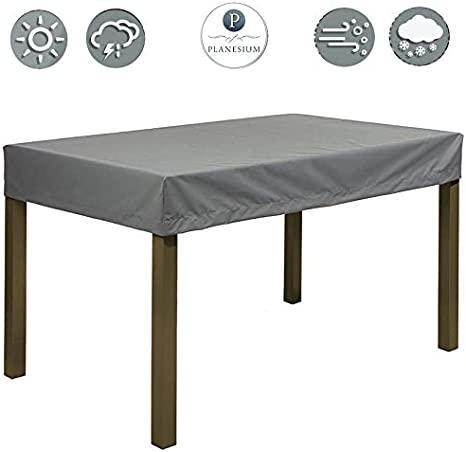 Planesium Premium Funda de Muebles de Jardín Mesa protectora Cubierta Impermeable Tela Oxford Resistente al Desgarro Antracita 180cm x 110cm x 15cm