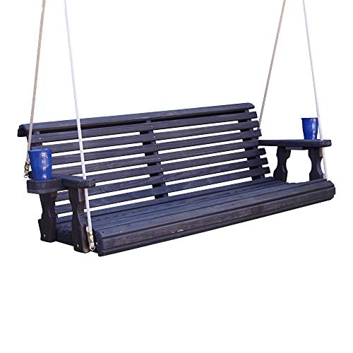 CAF Amish Heavy Duty 800 Lb Roll Back Treated Porch Swing with Hanging Ropes and Cupholders (5 Foot, Semi-Solid Black Stain)