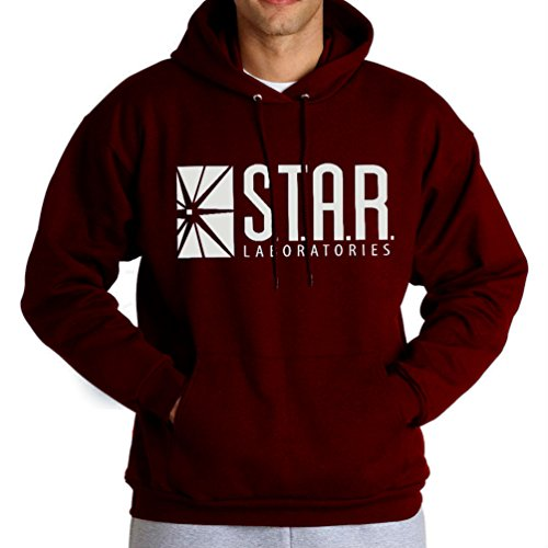 (fresh tees Star Laboratories S.T.A.R. Labs Hooded Sweatshirt (Large,)