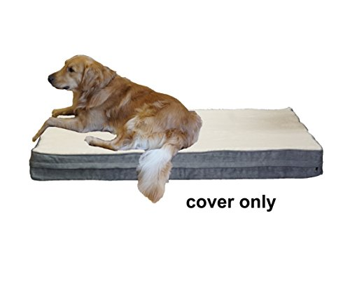 PetBed4Less Cream Color Super Soft Fleece Plush Top Pet Bed Dog Bed Zipper Cover Small, Medium to Super Large - 8 sizes - Replacement Zipper Cover only (37''x27''x4'', Gray) by PetBed4Less
