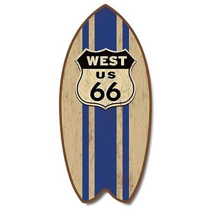 Retro de la ruta 66 erosionado Mini para tabla de surf con texto en inglés Home