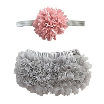 Piper LaRue Ruffle Bloomer & Lace Flower Infant Headband Set, Newborn Baby Girl, Mauve Pink & Silver Gray