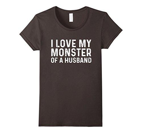 Womens I Love My Monster Of A Husband | Halloween Couples Shirt Set Small (Husband Wife Halloween Costumes)