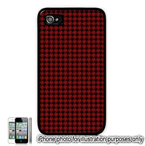 Red Houndstooth Check Pattern Apple iPhone 4 4S Case Cover Skin Black