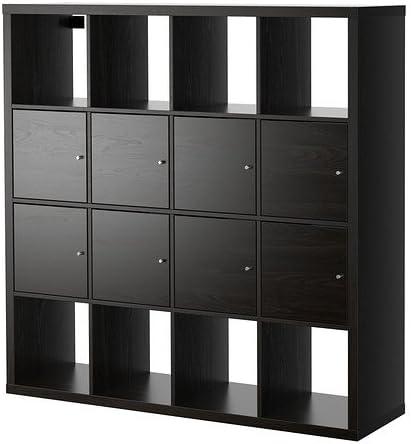IKEA Kallax - Estantería con 8 insertos, negro-marrón ...