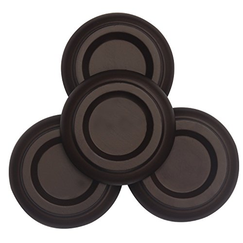 Rinastore Upright Piano Solid Hardwood Caster Cups Pads - Set of 4 (Solid Wood PA-12)