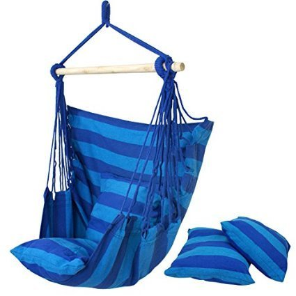 ZENY Hanging Rope Chair - Swing Hanging Hammock Chair - Porch Swing Seat - with Two Cushions - Max.265 Lbs (Blue)