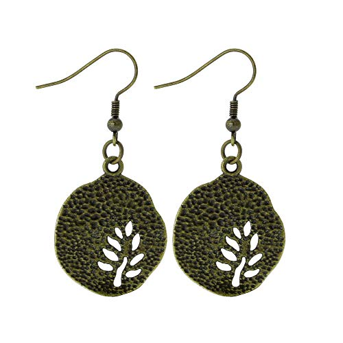 Stamped Bronze Tone Leaf Silhouette Earrings Fall Women's Handmade Charm Earring - Earrings Silhouette Hook