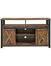 VASAGLE TV Stand with Sliding Barn Doors, TV Cabinet Media Console, Rustic Brown and Black ULTV46BX