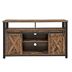 Farmhouse Living Room Furniture VASAGLE TV Stand for 55-inch TVs with Sliding Barn Doors, Entertainment Center and Media Console, TV Cabinet with… farmhouse tv stands