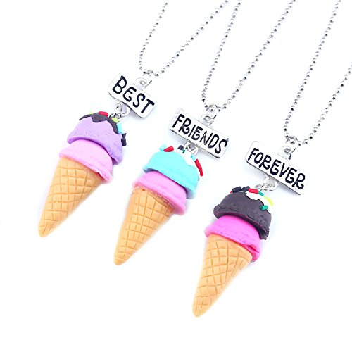 SKEINS Best Friends Forever BFF Necklaces For 3 Teen Girls Gift Food Necklace Jewelry Mom Day Necklace for Girl (Ice Cream necklaces)